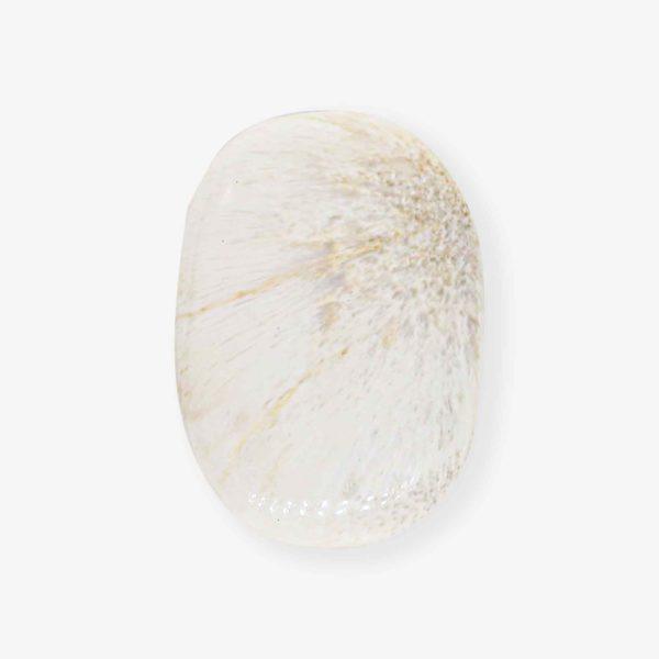 Chatoyant White Scolecite palm stone