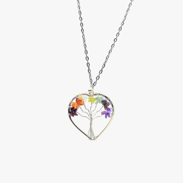 Seven chakra tree of life heart pendant wholesale online